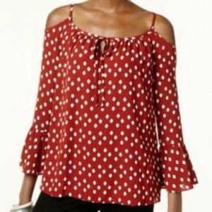 INC Cold Shoulder Peasant Top Ruffle Sleeve 16